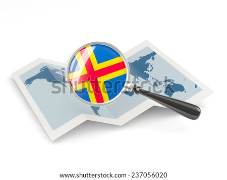 Magnified flag of aland islands with map isolated on white - stock photo
