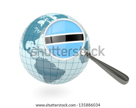 Magnified flag of botswana with blue globe isolated on white
