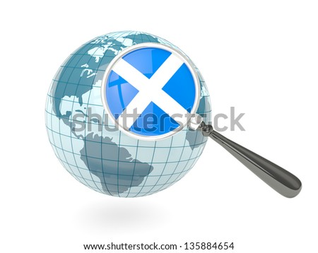 Magnified flag of scotland with blue globe isolated on white - stock photo