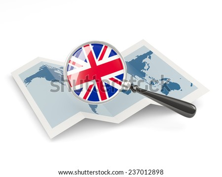 Magnified flag of united kingdom with map isolated on white - stock photo