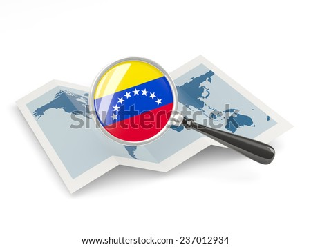Magnified flag of venezuela with map isolated on white - stock photo
