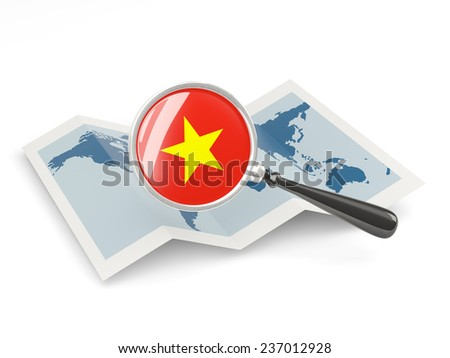 Magnified flag of vietnam with map isolated on white - stock photo