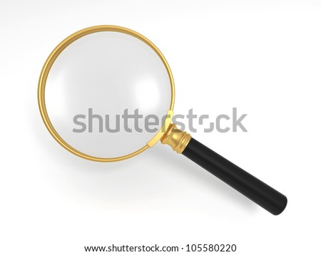 magnifier/A gold magnifying glass - stock photo