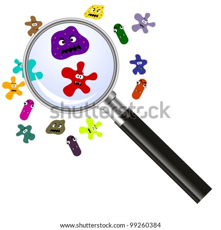 magnifier and germs - stock photo