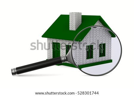 Magnifier and house on white background. Isolated 3D image