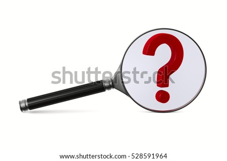 Magnifier and question on white background. Isolated 3D image