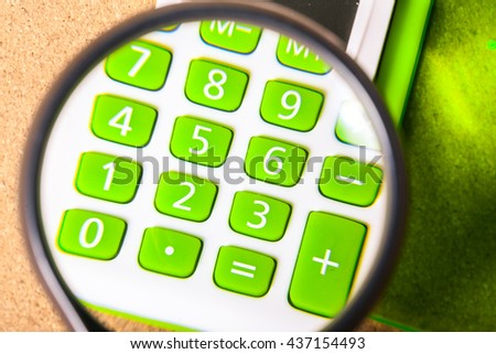 Magnifier and the calculator
