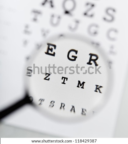 Magnifier clearing the blurry text on eyechart