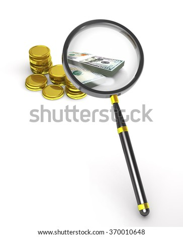 Magnifier, coins and banknotes on white background. - stock photo