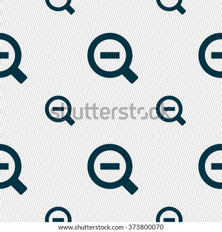 Magnifier glass, Zoom tool icon sign. Seamless pattern with geometric texture. illustration