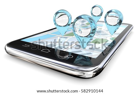 Magnifier GPS Search. GPS pointers of abstract Blue Glass on Smartphone Screen Map. 3D render.