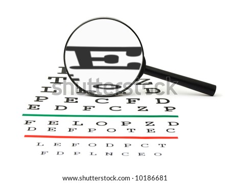 Magnifier on eyesight test chart, isolated on white background - stock photo