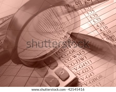 Magnifier, pen, ruler and calculator, picture about analysis.