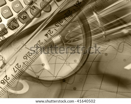 Magnifier, ruler and calculator, collage about reporting (sepia).
