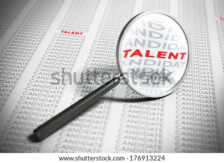 Magnifier with focus on the word talent with many words candidates around it. Blur effect concept of recruitment. - stock photo