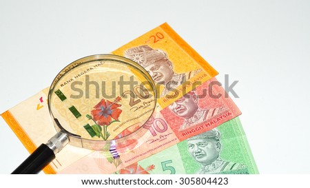 Magnifier with Malaysia Bank Notes.Selective focus and shallow depth of field.