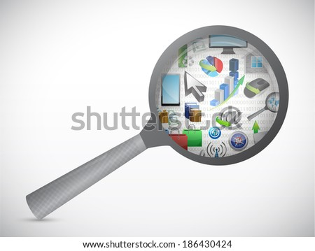 magnify and tool icons illustration design over a white background