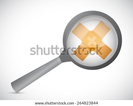 magnify bandage fix solution concept illustration design over white background - stock photo