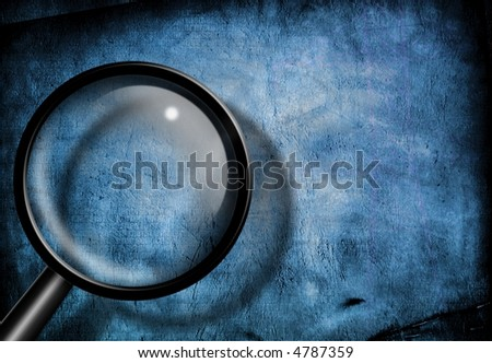 Magnify Glass Blue Grunge - stock photo