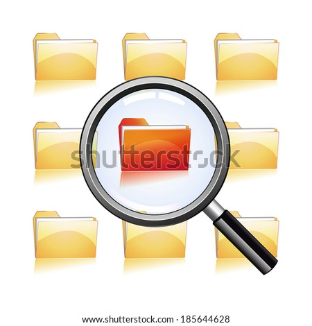 magnify glass on red file