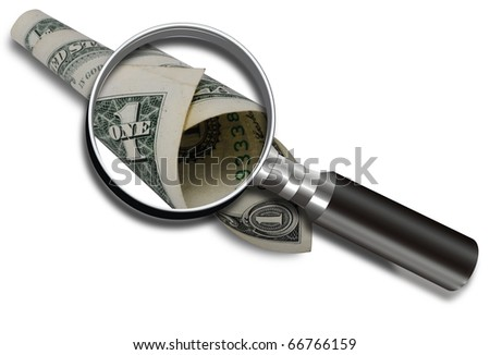 Magnifying a dollar bill.