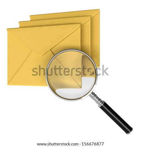 Magnifying and Envelope. Isolate on white background. Mail search concept