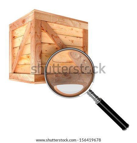 Magnifying and wooden box. Isolate on white background. Product search concept - stock photo