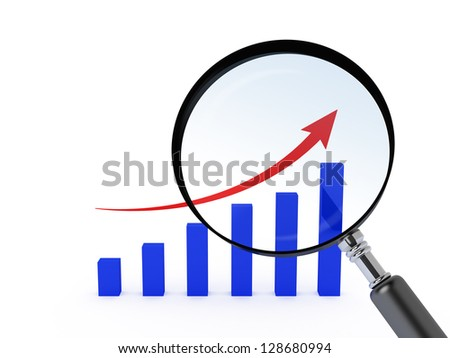 Magnifying glass and bar chart with red arrow, isolated on white background. - stock photo
