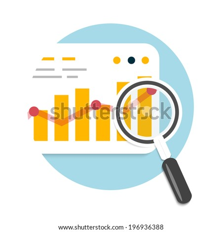 Magnifying glass and chart. Business concept of analyzing. Raster version - stock photo