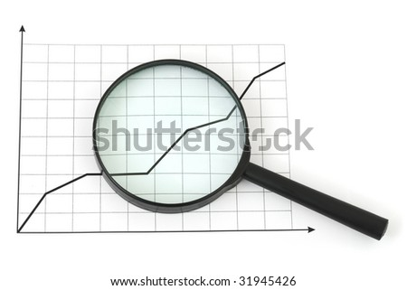 Magnifying glass and diagram isolated on white background