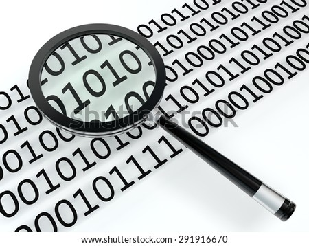 magnifying glass and digital code - stock photo
