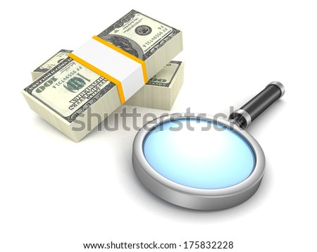 magnifying glass and 100 dollar packs money - stock photo