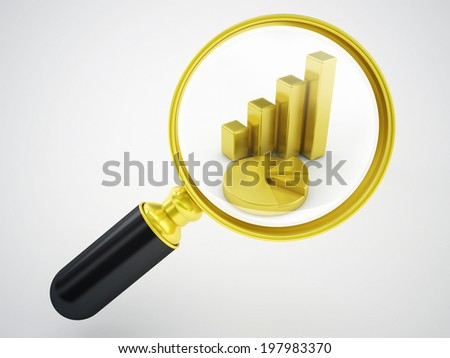magnifying glass and gold statistics - stock photo