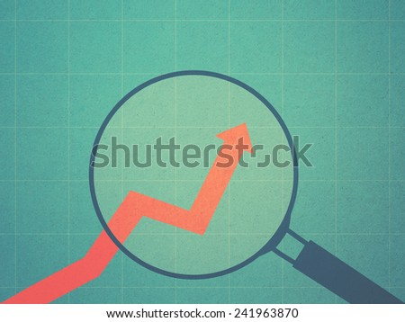 magnifying glass and growing chart in retro style - stock photo