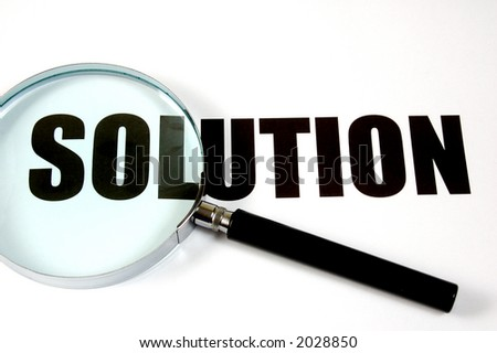 "Magnifying glass and text ""solution"", conceptual."