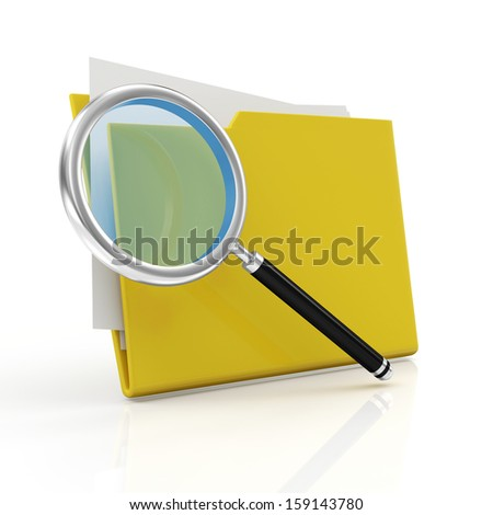 Magnifying Glass and Yellow Folder isolated on white background. Searching concept - stock photo