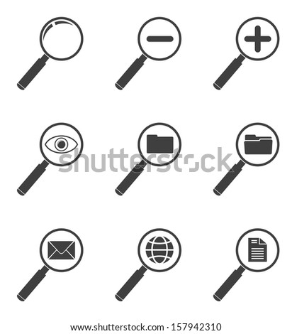 magnifying glass black icon set