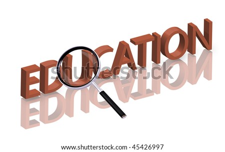 Magnifying glass enlarging part of red 3D word with reflection education button education icon learning knowledge school university - stock photo
