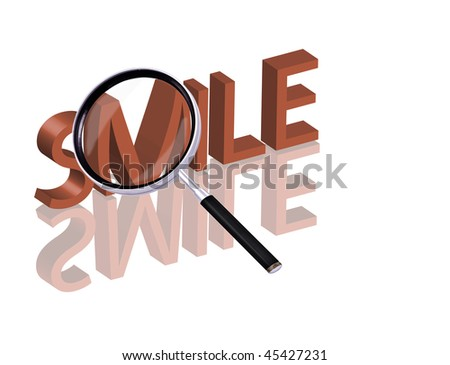 Magnifying glass enlarging part of red 3D word with reflection smile button smile icon - stock photo
