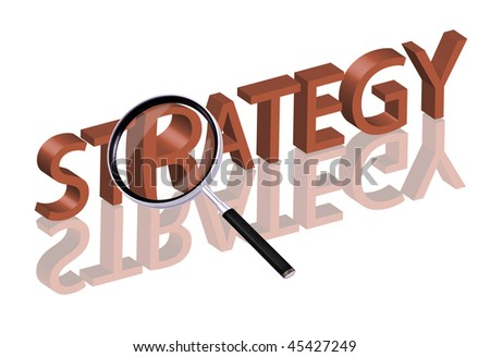 Magnifying glass enlarging part of red 3D word with reflection strategy button strategy icon - stock photo