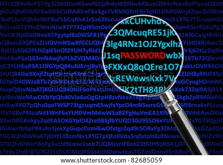 Magnifying glass focused on PASSWORD in middle of digital code - stock photo