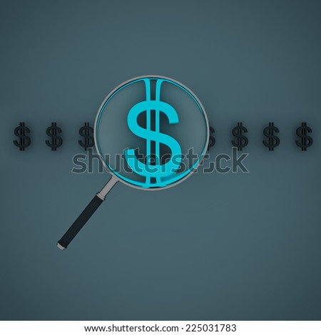 Magnifying glass for zooming blue dollar symbol