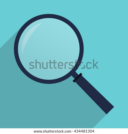 Magnifying glass icon. Magnifier in flat style with long shadow.