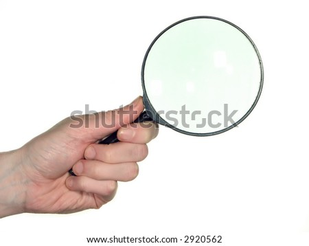 magnifying glass in arm