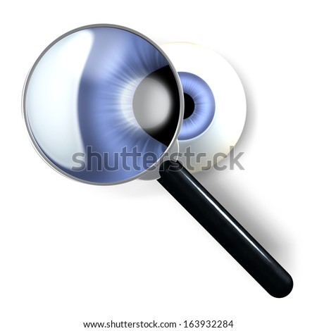Magnifying glass in front of an isolated, blue eye ball staring at viewer, 3d rendering isolated on white background - stock photo