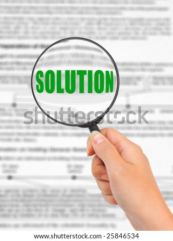 Magnifying glass in hand and word Solution, business background