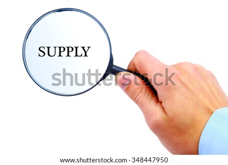 "Magnifying glass in hand isolated on white background searching ""Supply"""