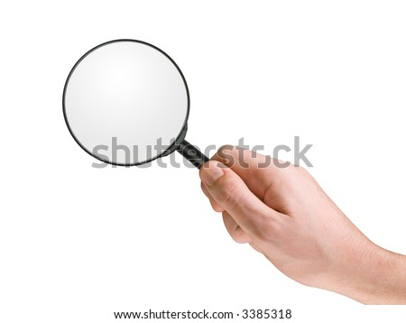 Magnifying glass in hand, isolated on white, clipping path - stock photo