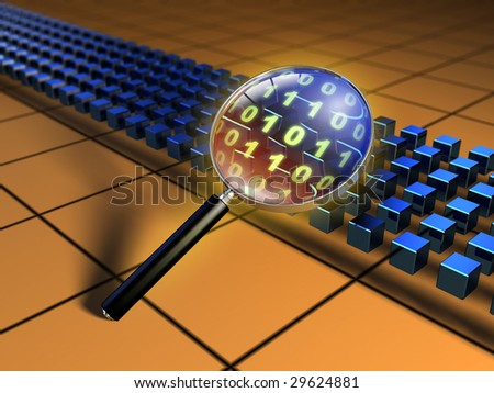 Magnifying glass inspecting a code stream. Digital illustration.