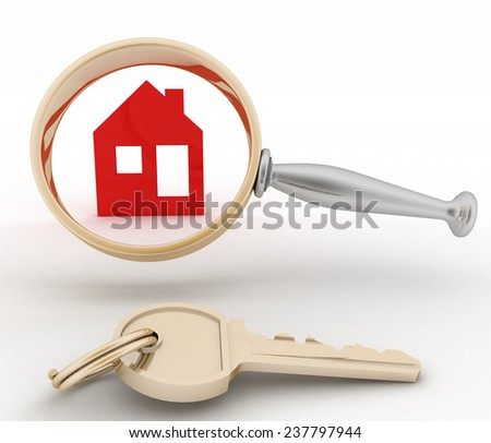 Magnifying glass inspects a home. Concept of search of house for residence, real estate investment, inspection.  - stock photo